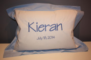 Light Blue Bordered Baby Pillow