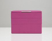 Leather Stackable Jewelry Box Fuschia