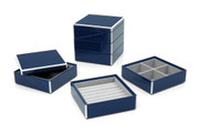 Elle Lacquer Set of 3 Stacking Jewelry Boxes Navy Blue
