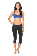 Body Language V Scrunch Capri - Black/Royal Stripe/Mesh