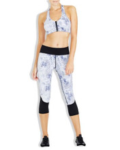 Flight Blue Feather 3/4 Compression Tights   Vie Active at Fire and Shine   Women's leggings