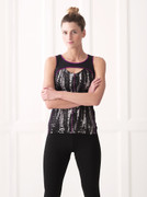Panel Top with Black and White Print   Wellicious at Fire and Shine   Womens Tops