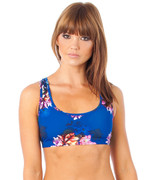 Muscle Crop in Flower Bomb Blue   Lurv at Fire and Shine   Womens Crops