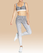 Samantha Zip Bra White Leopard | Vie Active at Fire and Shine | Womens Crops