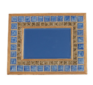 Mosaic Mirror Wood Frame Crushed Art Glass 8 Color Options