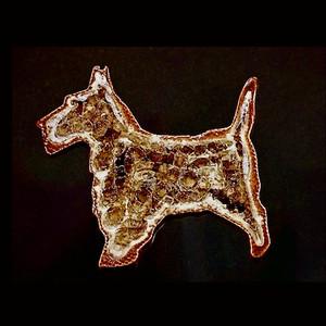 Scotty Dog Fridge Magnet Brown Glass