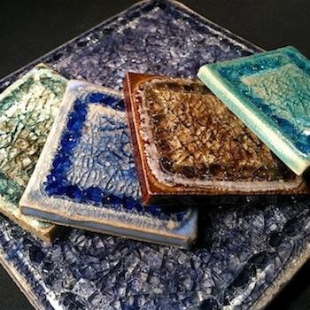 handmade recycled glass tiles
