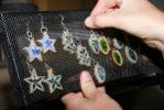 Handmade Glass Earrings on Upcycled Display