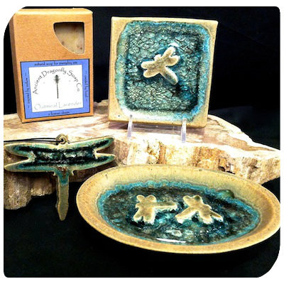 Glass Pottery Dragonfly Set