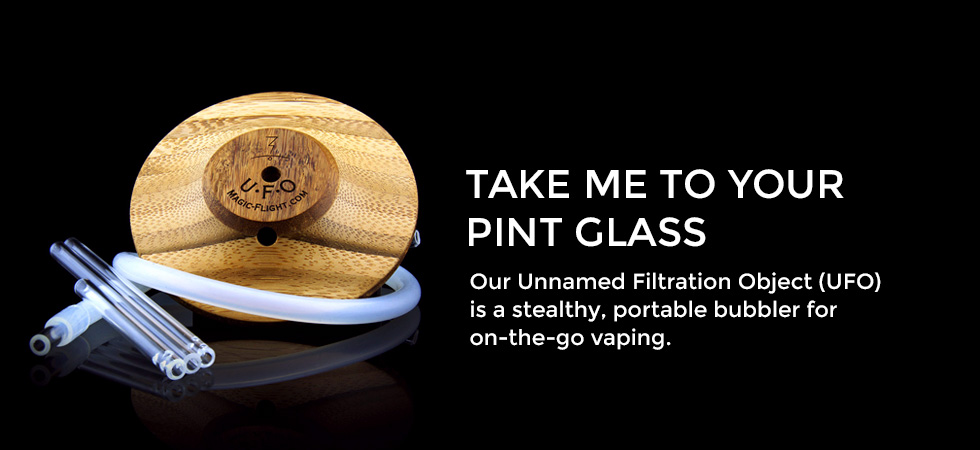 Take me to your pint glass - Our Unnamed Filtration object (UFO) is a stealthy, portable bubbler for on-the-go vaping - Magic-Flight