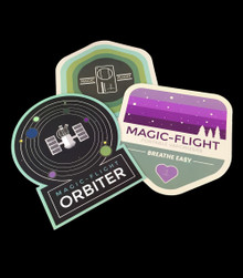 Sticker Pack - group shot of our new stickers - inspired by the idea of applying a fresh, modern image to our classic products and company motto - Magic-Flight