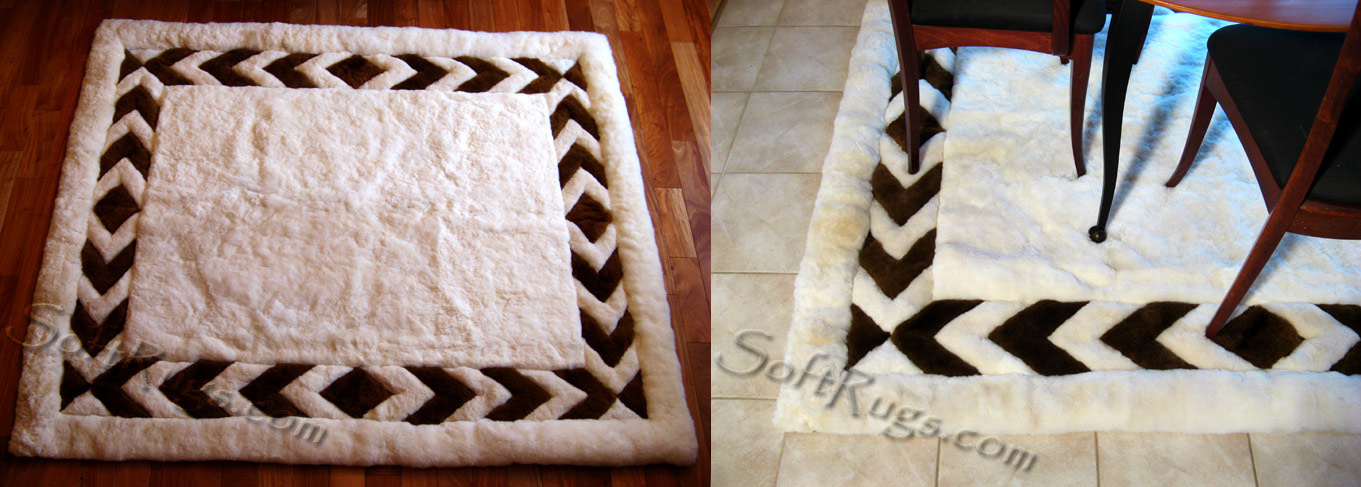 Custom White Alpaca Rug with Chevron Border