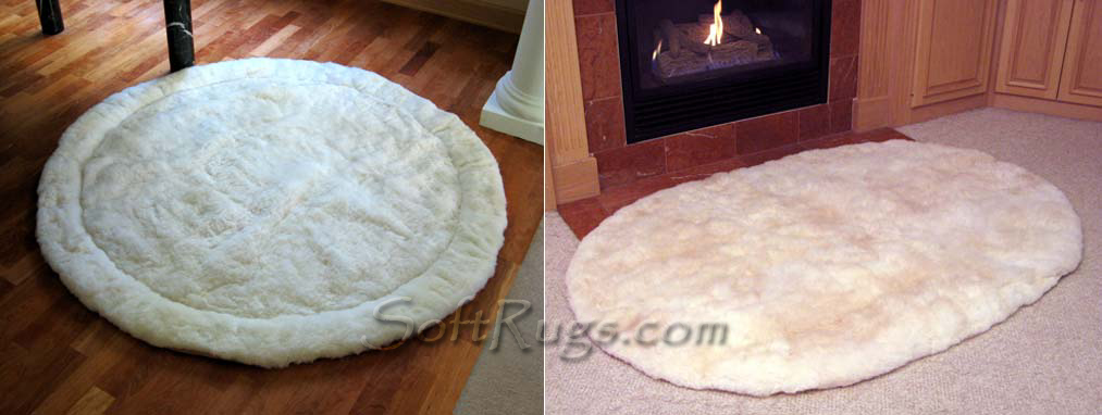 Custom Round Alpaca Rug with Border and Oval Rug without border