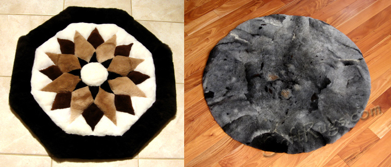 Octagonal starburst pattern alpaca rug with Custom Gray Alpaca Rug