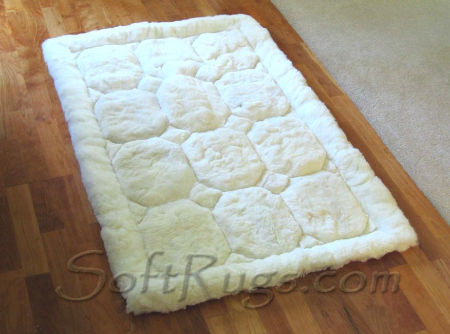 White Puffs Alpaca Rug