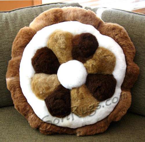 MultiColor Flower Round Alpaca Pillow