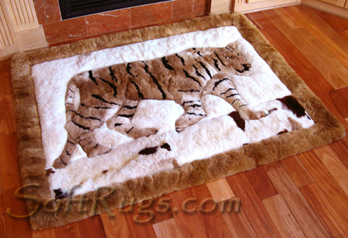 Walking Tiger Alpaca Fur Rug