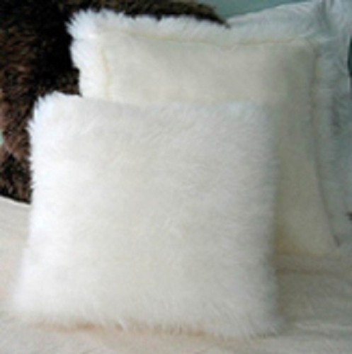 Single-sided Longwool pillows in Ivory (microsuede back shown)