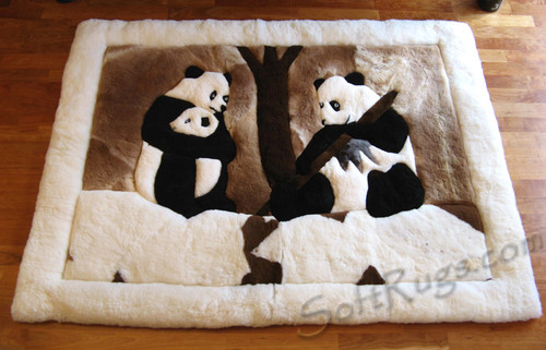 Panda Family Alpaca Rug with White Border on Wood Floor
