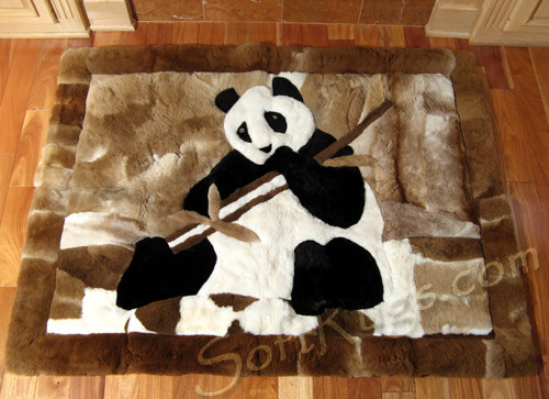Happy Panda with Bamboo Alpaca Fur Rug  (Most Sizes 20% Off!!)