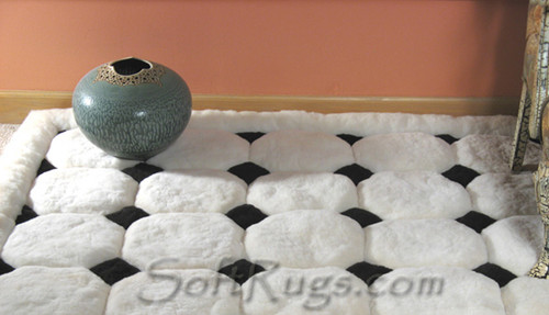 White Puffs with Black Diamonds Alpaca Rug (Many Sizes 20% Off!!)