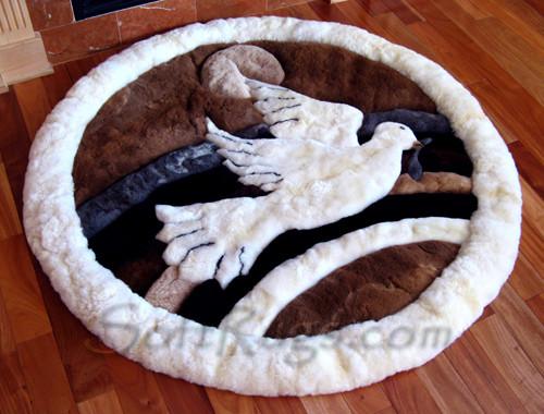 Peace Dove Pattern Round Alpaca Rug