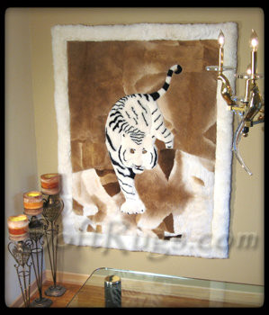 Stalking Tiger Pattern Alpaca Rug as Wall Hanging