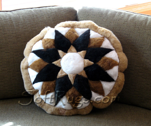 Starburst Alpaca Pillow with Light Brown Border