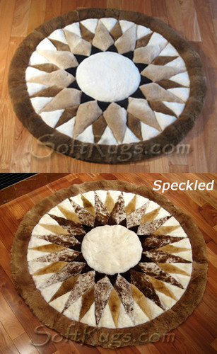 Starbust Pattern Round Alpaca Rug - two examples shown on wood floors