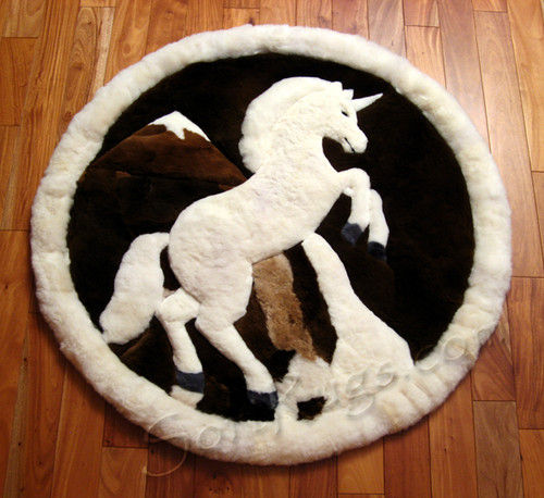 Unicorn Pattern Round Alpaca Fur Rug