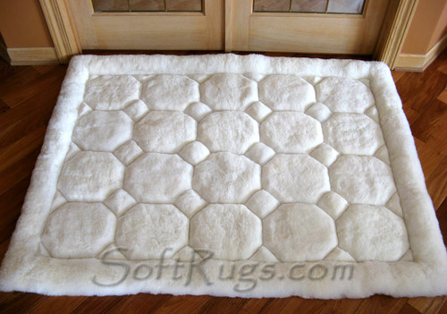 White On White Puffs Pattern Alpaca Rug In Front Of Study Doors