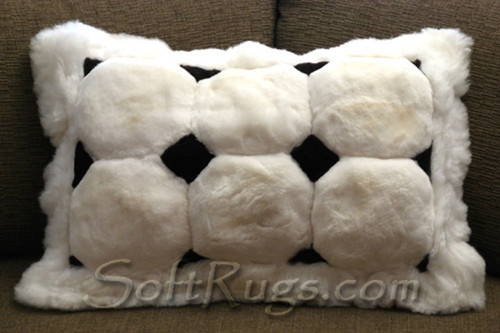 Closeup of White Puffs Alpaca Pillow with Black Diamond Accents