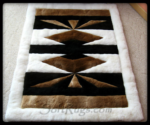 Southwest Alpaca Rug with a white border.