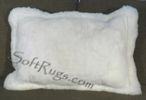 Solid White Alpaca Pillow with Border