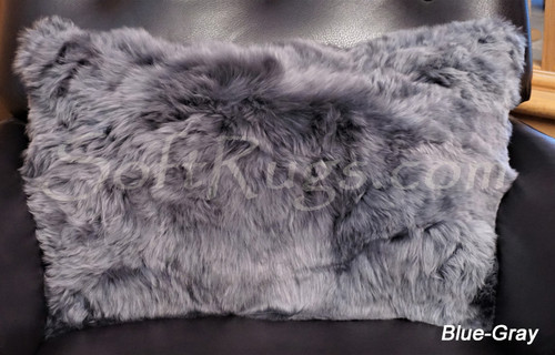 16 x 24 Suri Alpaca Fur Pillow in Blue-Gray