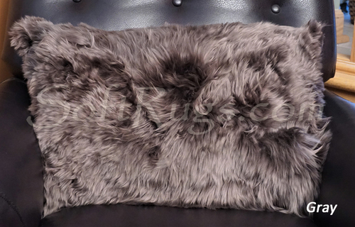 16 x 24 Suri Alpaca Fur Pillow in Gray