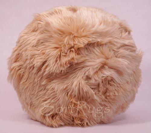 20in Round Suri Alpaca Fur Pillow in Champagne