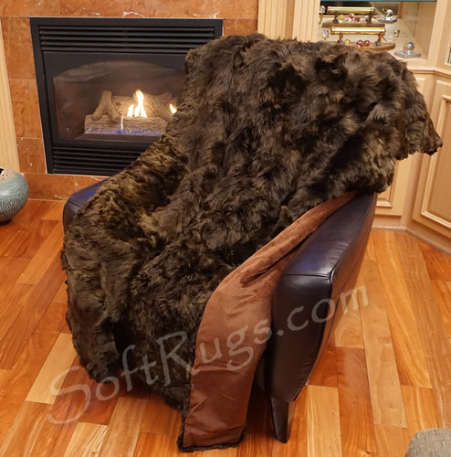 4 x 6 Suri Alpaca Fur Throw in Espresso