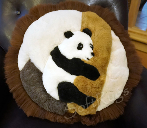 Panda In Tree Round Alpaca Pillow
