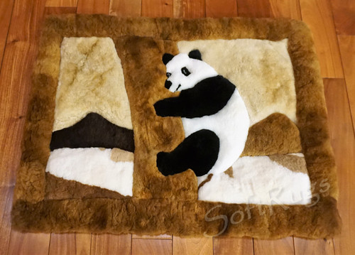 Panda In Tree Alpaca Fur Rug