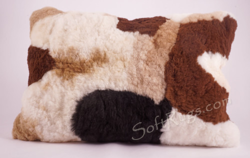 Multicolor Alpaca Fur Pillow