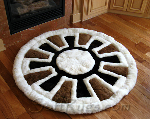 Inca Wheel Round Alpaca Fur Rug