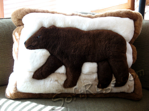 Brown Bear Pattern Alpaca Pillow
