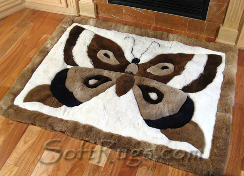 Butterfly Design Alpaca Fur Rug