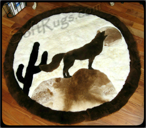 Coyote Pattern Round Alpaca Rug
