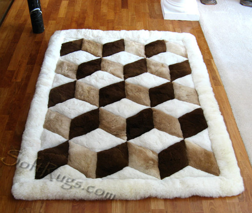 Cubic Illusion Alpaca Rug With White Border