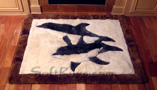 Twin Dolphin Pattern Alpaca Rug