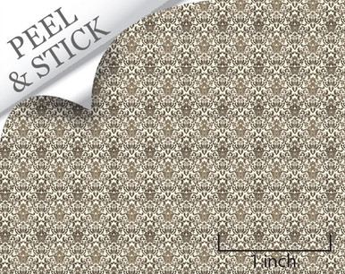 Brown Damask Quarter Scale Wallpaper