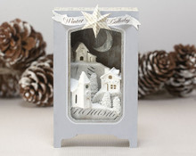 Winter Lullaby Shadow Box Kit with Glitter Houses