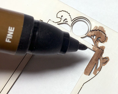 Dark brown art marker for coloring dollhouse miniature kits